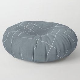 Overlapping Diamond Lines on Peninsula Blue Floor Pillow