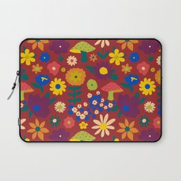 60's Country Mushroom Floral in Rust Laptop Sleeve