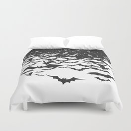 Halloween Bat Black and White Pattern Duvet Cover