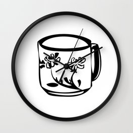 Flower teacup Wall Clock