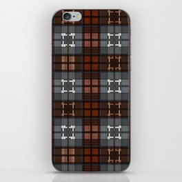 Dark black and blue plaid checkered Scandinavian design iPhone Skin