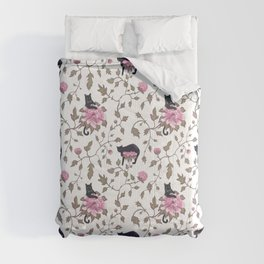 Black cats and paeony flowers Comforters