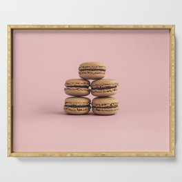 Macaroons on pink background Serving Tray