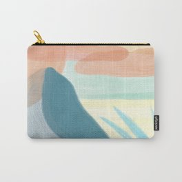 Desert Land // Mountains Sun Clouds Agave Plant Sand Simple Digital Acrylic Landscape Painting Carry-All Pouch