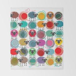 Bright Sheep and Yarn Pattern Throw Blanket