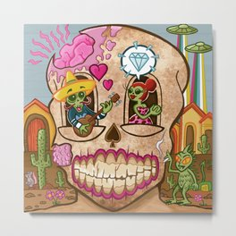 Mexican Skull House Metal Print