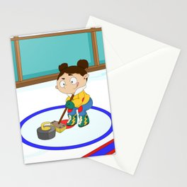 Winter Sports: Curling Stationery Cards