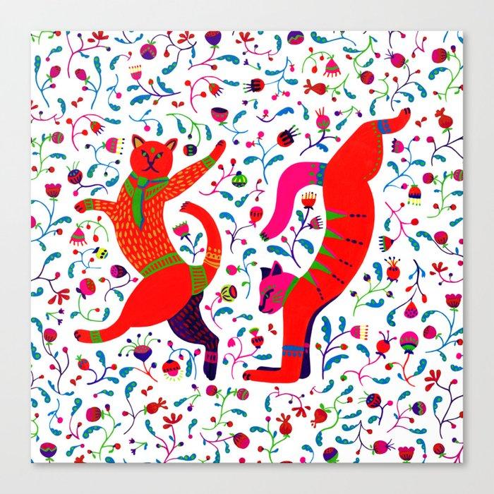 Dancing cats among spring flowers, swing & rock. Chats dansant dans les fleurs de printemps Canvas Print