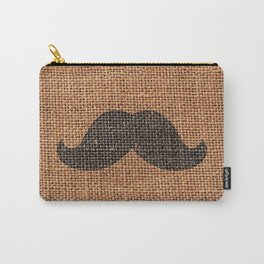 Black Funny Mustache on Brown Jute Burlap Texture Carry-All Pouch