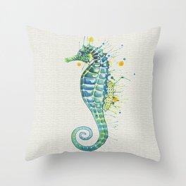 Seahorse: Green Natural Throw Pillow