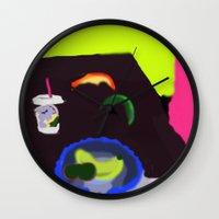 breakfast Wall Clocks featuring Breakfast by Robert Morris