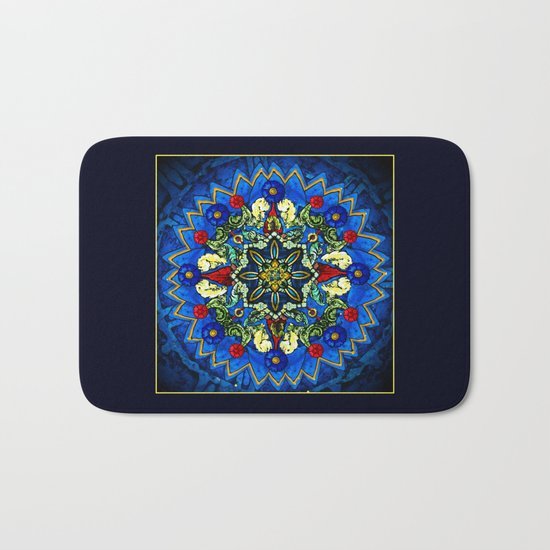 Lighted Rose Window Collage Bath Mat