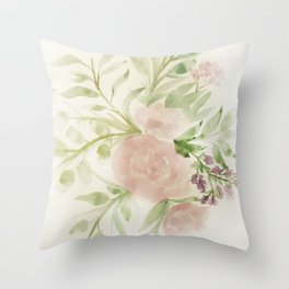 Blush Roses Watercolor No. 2 Throw Pillow