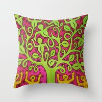 keith haring Throw Pillows featuring Copy of Tree of Life - Keith Haring by JeyJey Artworks