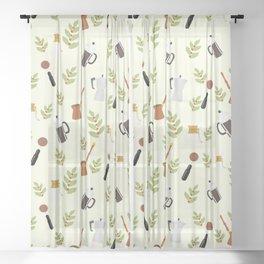 brewing pattern Sheer Curtain