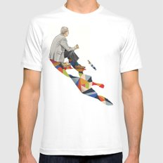 Walking Shadow, Lunch MEDIUM Mens Fitted Tee White