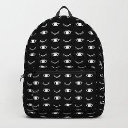 Wink or sleepy eyes and eyelashes Backpack
