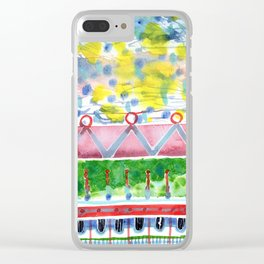Semi-Abstract Cloud Bridge Pattern Clear iPhone Case