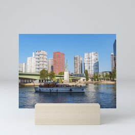 Statue of Liberty and beaugrenelle district - Paris, France Mini Art Print