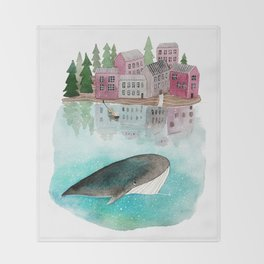 A whale is passing by Throw Blanket