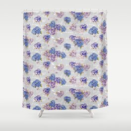 Hydrangeas and French Script with birds on gray background Shower Curtain