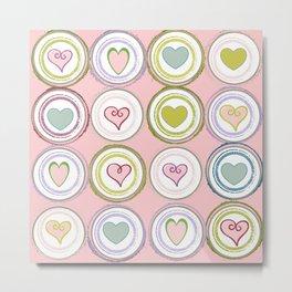 Badge of Hearts -Pink Metal Print