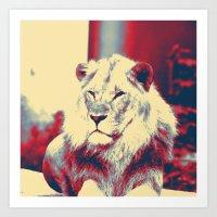 popart Art Prints featuring Lion popart by MehrFarbeimLeben