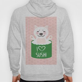 I love sushi. Kawaii funny sushi roll and white cute cat with pink cheeks, emoji. Pink background Hoody