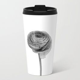 Black And White Ranunculus Travel Mug