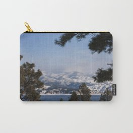 Snow Capped Mountain Pine Tree Lined Lanscape Colored Canvas Wall Art Print Carry-All Pouch
