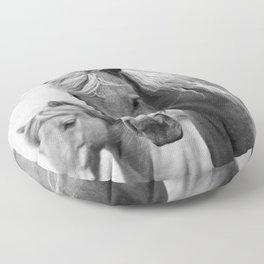 Horses - Black & White Floor Pillow