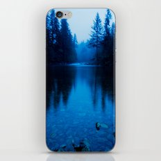 Forest Reflection Nature Lake - Blue Forest Trees Water Reflection iPhone & iPod Skin
