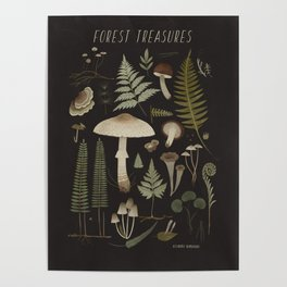 Forest treasures on dark background Poster