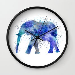 Blue Watercolor Elephant Wall Clock