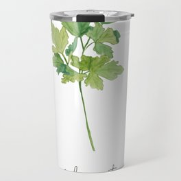 Watercolor Cilantro Kitchen Art Print Travel Mug