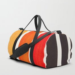 Orange Minimalist Mid Century Modern Color Fields Ombre Watercolor Staggered Squares Duffle Bag