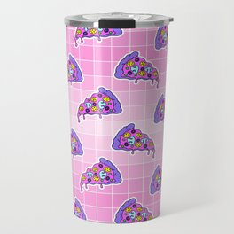 Crazy pizza / Pink Grid Travel Mug