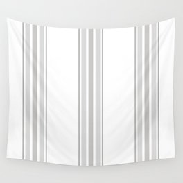 Farmhouse Ticking Stripes in Gray on White Wall Tapestry