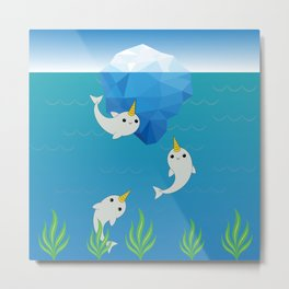 Swimming Narwhals Metal Print