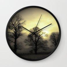 Golden Tree Landscape Wall Clock