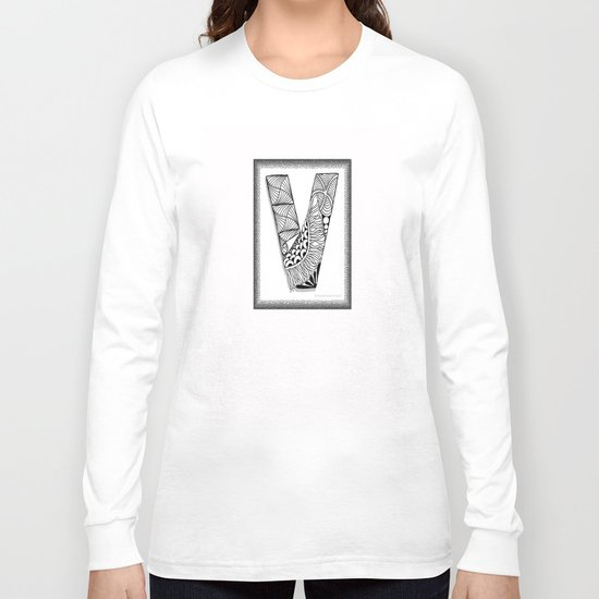 Zentangle V Monogram Alphabet Illustration Long Sleeve T-shirt
