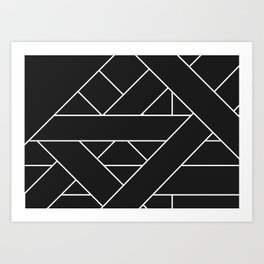 Charcoal Black and White Geometric Abstract Paths and Lines Art Print