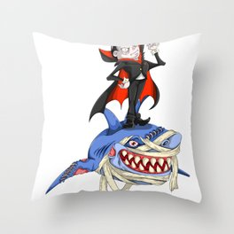 Halloween Vampire Shark Throw Pillow