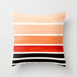 Brown Minimalist Watercolor Mid Century Staggered Stripes Rothko Color Block Geometric Art Throw Pillow