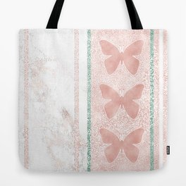 Snow White Peach Butterfly Abstract Pattern Tote Bag