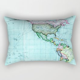 Turquoise Map Pattern Rectangular Pillow