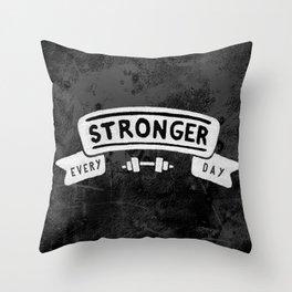 Stronger Every Day (dumbbell, black & white) Throw Pillow