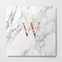 Monogram rose gold marble W Metal Print