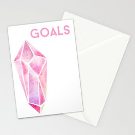 GOALS Watercolor Pink Crystal Minimalist Boss Lady Inspirational Typography Motivational Stationery Cards