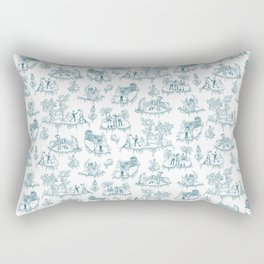 Zombie Toile - Teal on White Rectangular Pillow